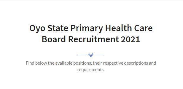 Oyo State Primary Health Care Board Recruitment 2021